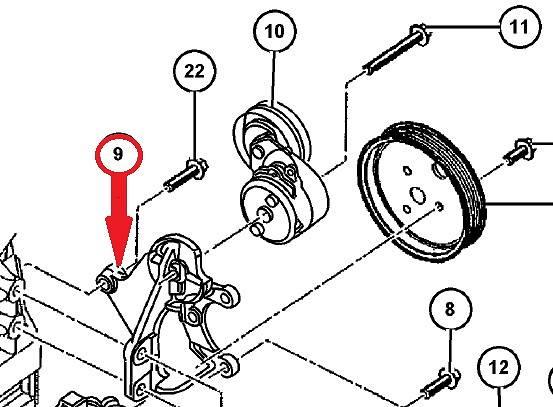 Mocowanie napinacza paska klinowego 2.5 2.8 CRD Jeep